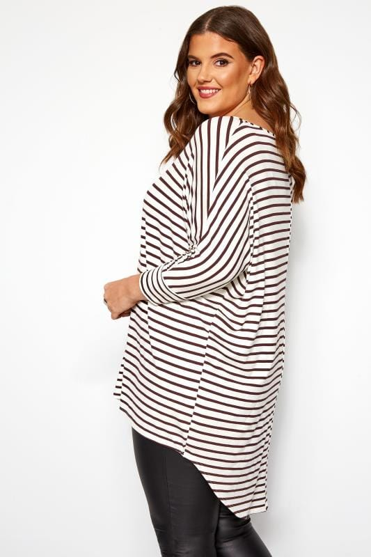 White & Brown Striped Extreme Dipped Hem Top