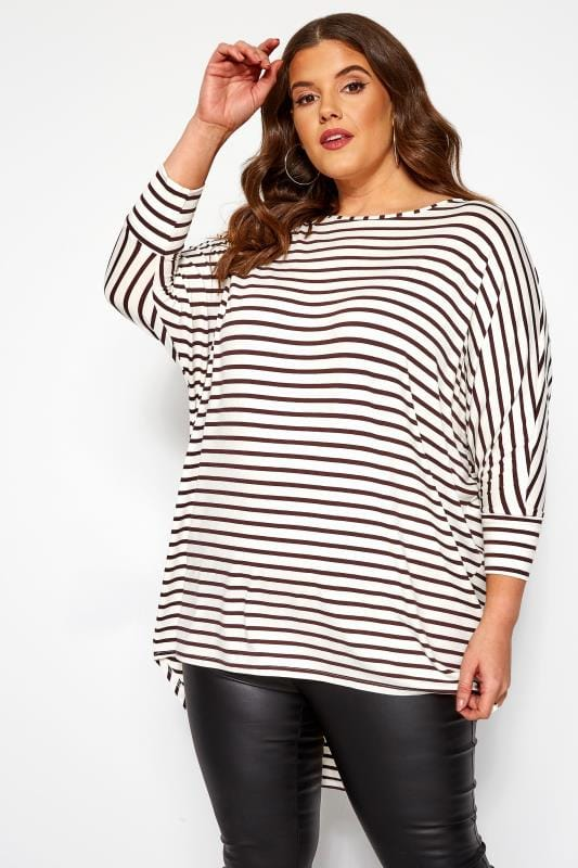 Plus Size Day Tops White & Brown Striped Dipped Back Tunic Top