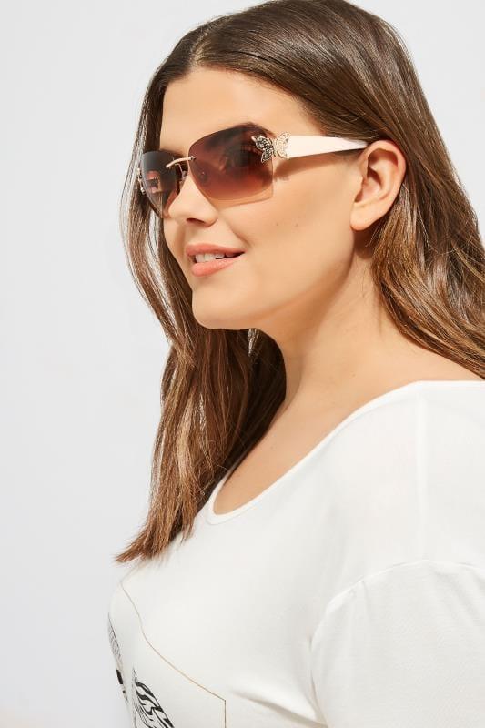 White Butterfly Frameless Sunglasses
