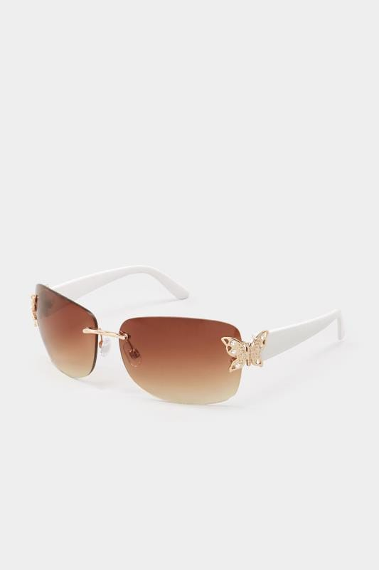White Butterfly Frameless Sunglasses