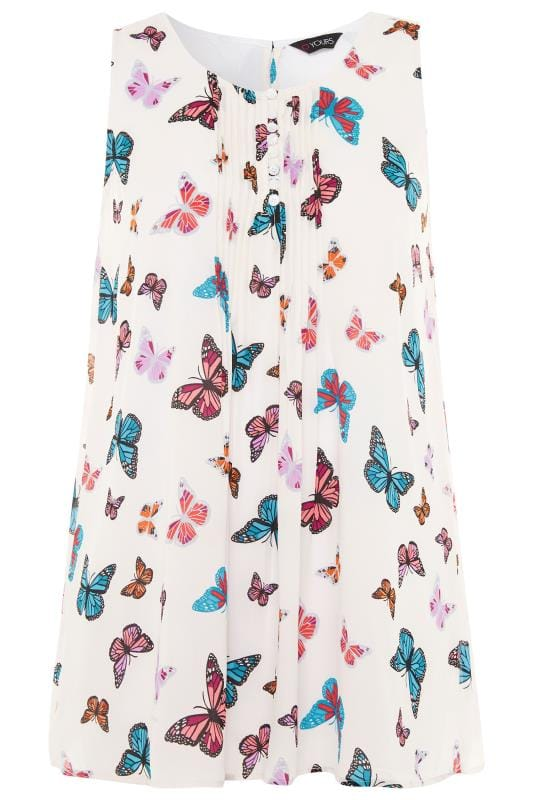White Butterfly Print Chiffon Vest Top