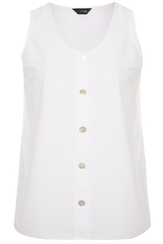 White Button Front Vest Top