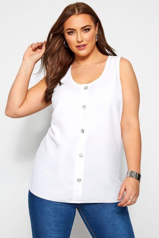 Plus Size Vests & Camis White Button Front Vest Top