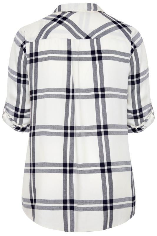 White Check Studded Boyfriend Shirt