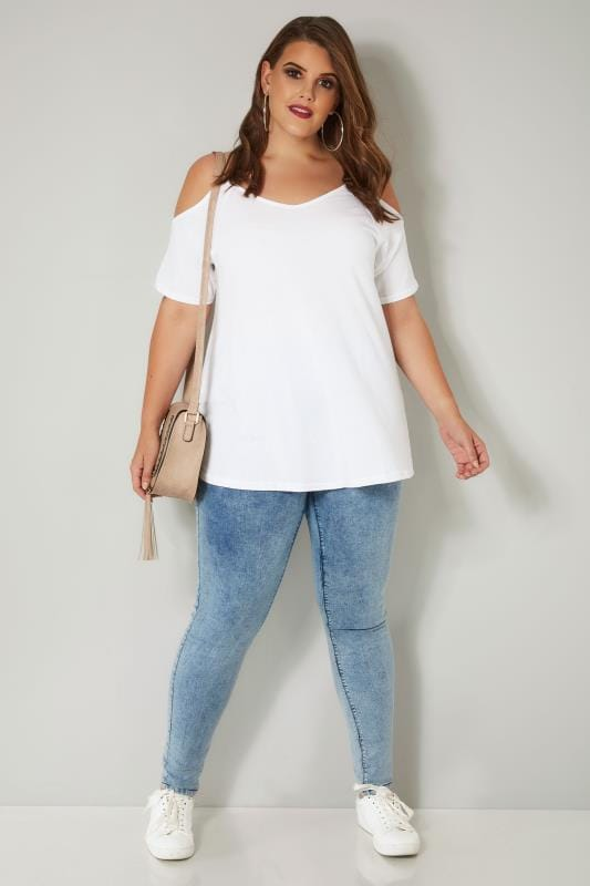 White Cold Shoulder Jersey Top