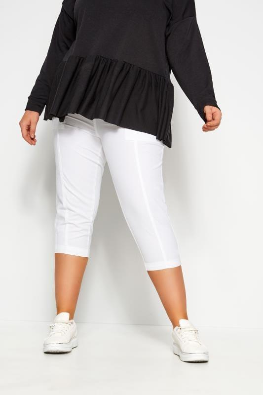 Pantalones blancos capri algodón fresco