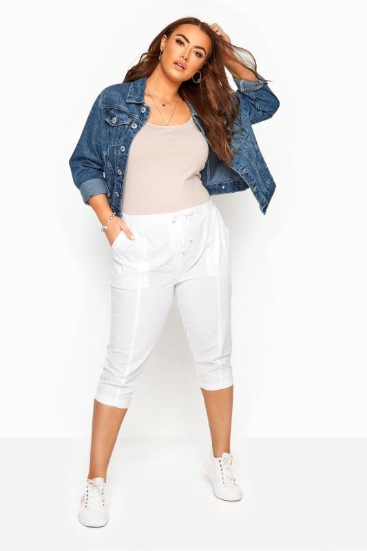 Plus Size Cool Cotton Trousers White Cool Cotton Cropped Trousers
