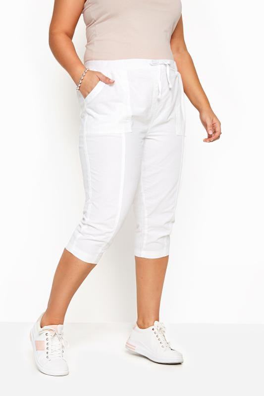 White Cool Cotton Cropped Trousers