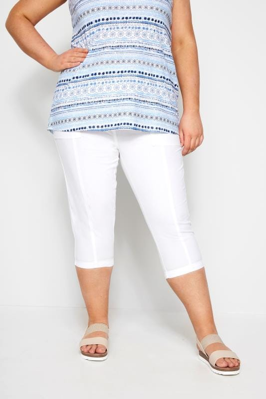 Plus Size Cotton Pants White Cool Cotton Cropped Trousers