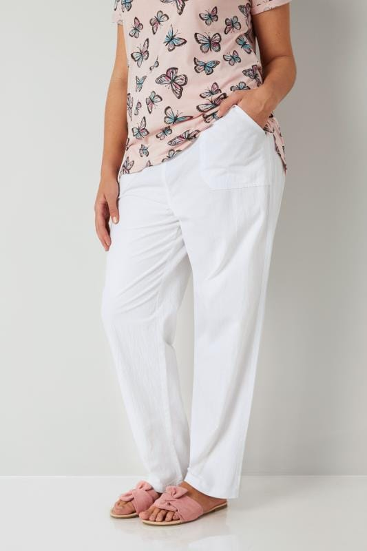 Plus Size Cool Cotton Trousers White Cool Cotton Pull On Wide Leg Trousers