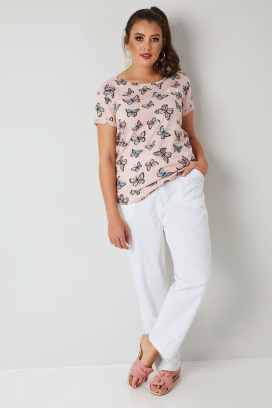 White Cool Cotton Pull On Wide Leg Trousers