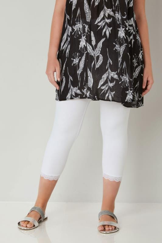Plus Size Cropped & Short Leggings White Cotton Essential Cropped Leggings With Lace Detail