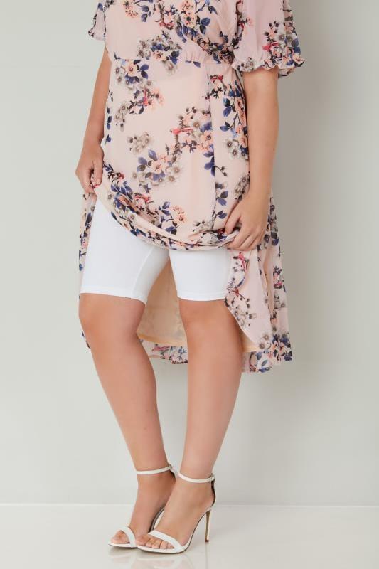 White Cotton Essential Legging Shorts