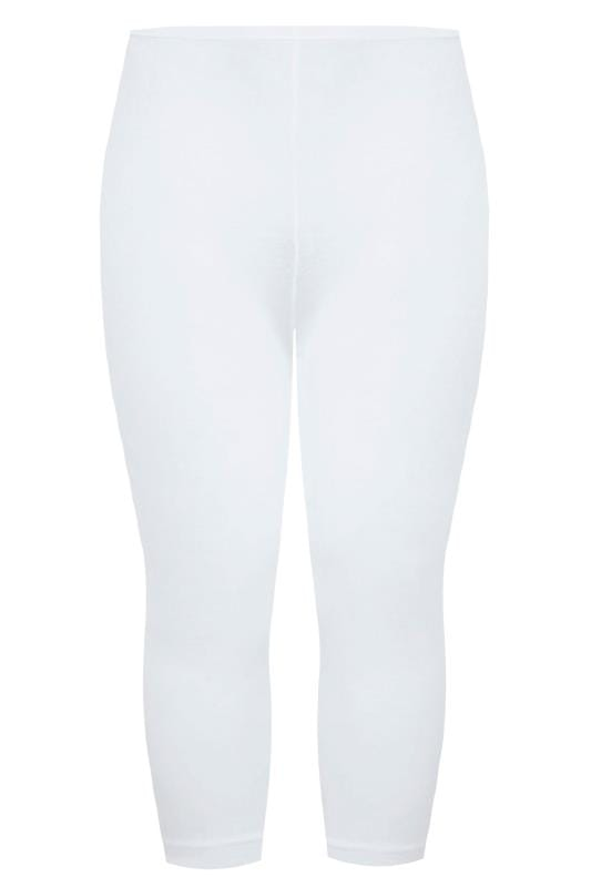White Cotton Essential Cropped Leggings
