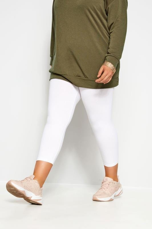 Plus Size Cropped & Short Leggings White Cotton Essential Cropped Leggings