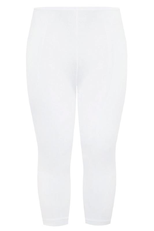 White Cotton Essential Cropped Leggings
