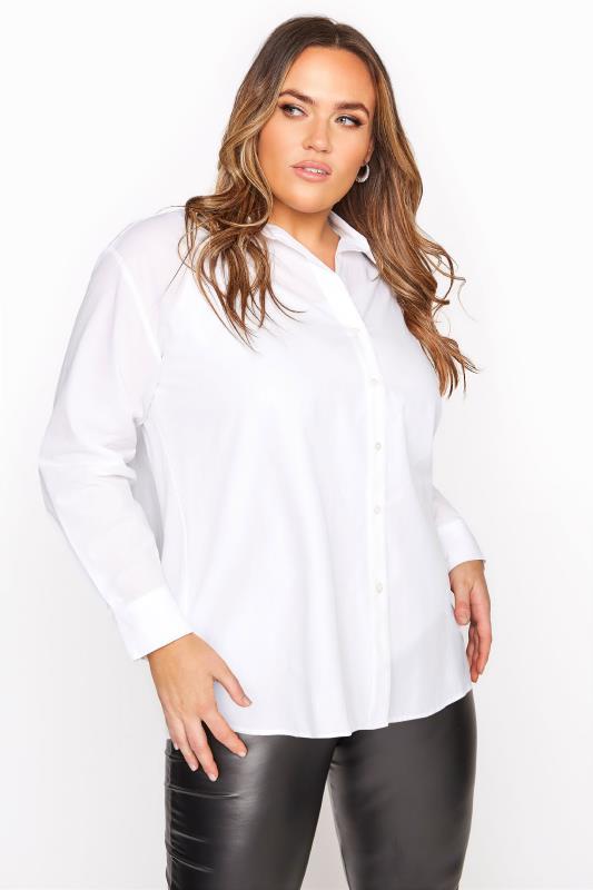 Plus Size  White Cotton Poplin Shirt