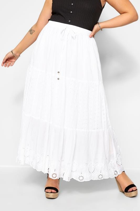 Maxi Skirts Grande Taille White Crinkle Broderie Maxi Skirt