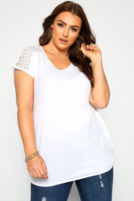 Plus Size Jersey Tops White Crochet Lace Bubble Hem Top