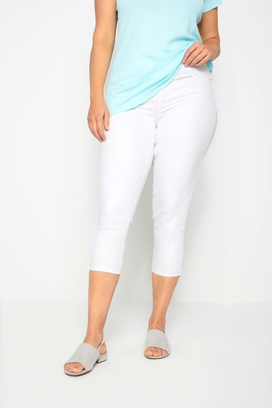 Plus Size Jeggings White Cropped JENNY Jeggings