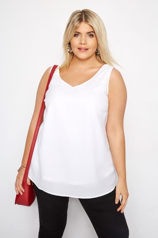 Plus Size Vests & Camis White Cross Back Cami