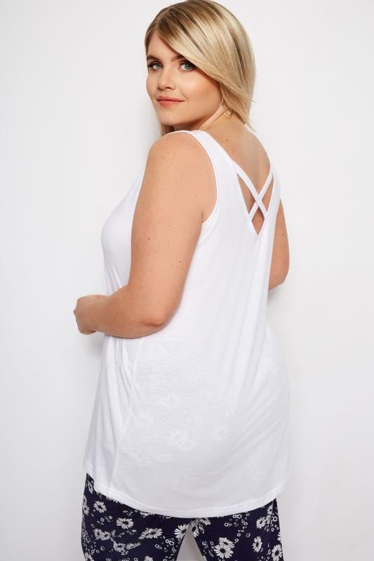 Plus Size Vests & Camis White Cross Back Vest