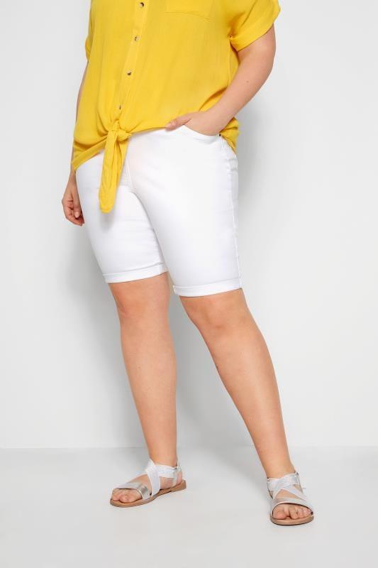 Jeansowe spodenki dla puszystych Szorty z białego denimu