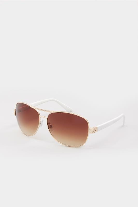 White Diamante Aviator Sunglasses