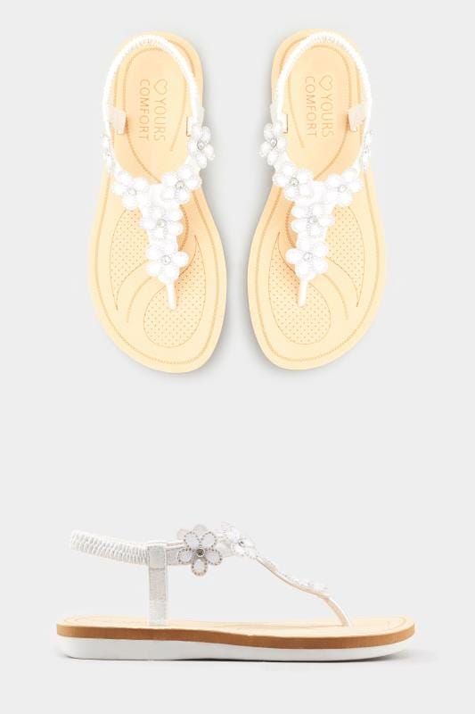 White Diamante Flower Sandals In Extra Wide Fit