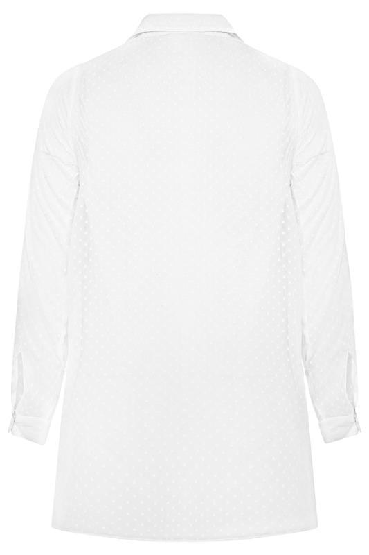 YOURS LONDON White Dobby Pleated Chiffon Shirt