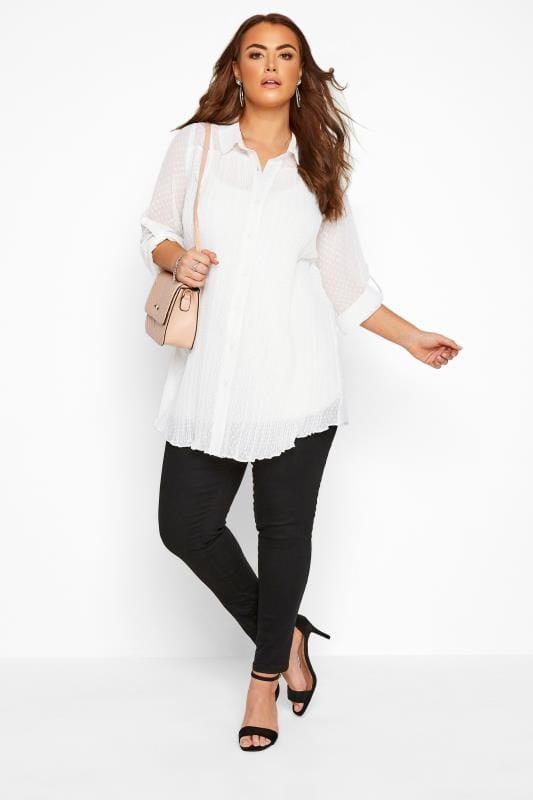 Plus Size Shirts YOURS LONDON White Dobby Pleated Chiffon Shirt