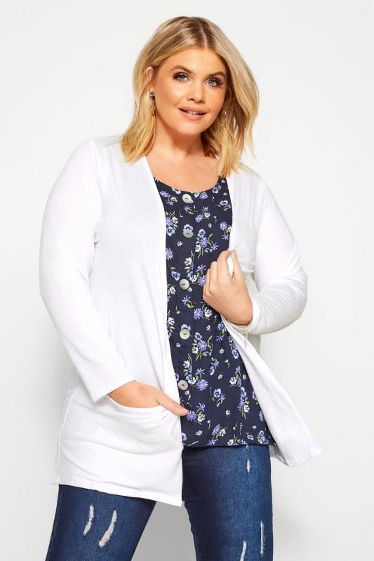 Plus Size Cardigans White Drop Pocket Cardigan