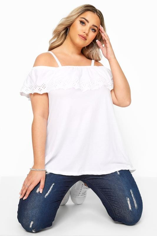 White Embroidered Frill Cold Shoulder Top