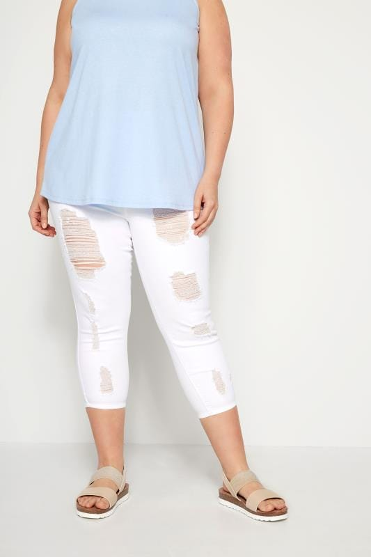 Plus Size Cropped Jeans White Extreme Distressed Cropped JENNY Jeggings