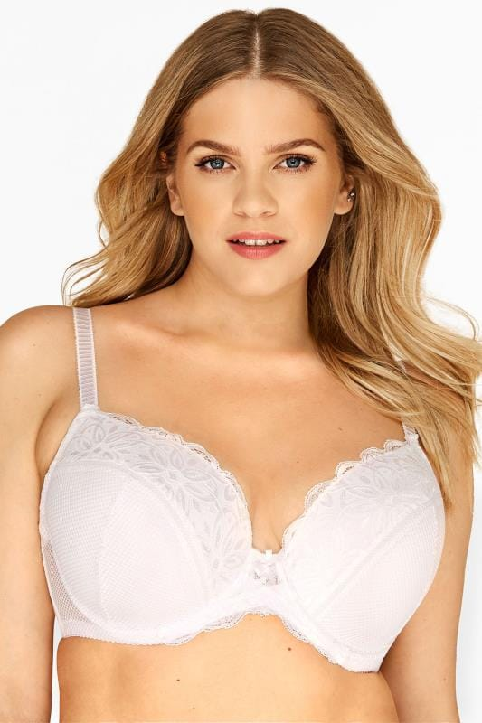 Plus-Größen Plus Size Underwired Bras White Fishnet & Daisy Lace Plunge Bra