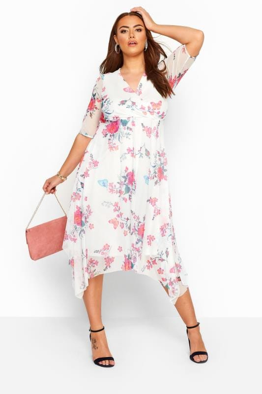 Plus Size Midi Dresses White Floral Butterfly Mesh Wrap Dress