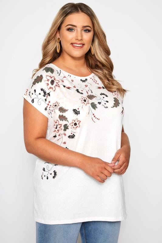 Plus Size T-Shirts White Floral Capped Sleeve T-Shirt