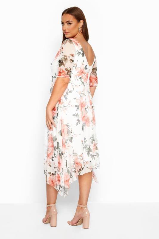 White Floral Cowl Neck Mesh Dress
