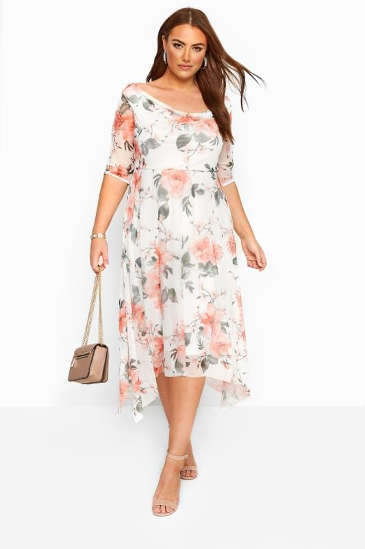 Plus Size Floral Dresses White Floral Cowl Neck Mesh Dress