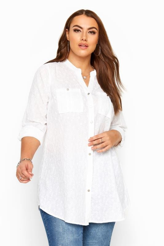 Plus Size Blouses & Shirts White Floral Embroidered Shirt