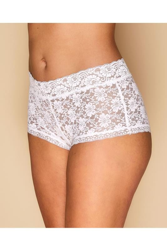 Plus Size Panties White Floral Lace Shorts