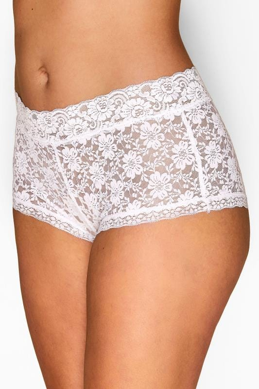 Plus Size Briefs & Knickers White Floral Lace Shorts