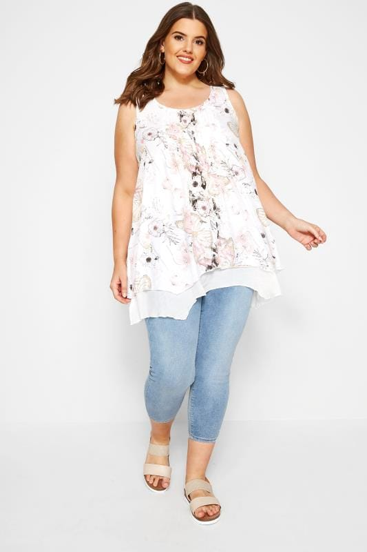 White Floral Layered Blouse