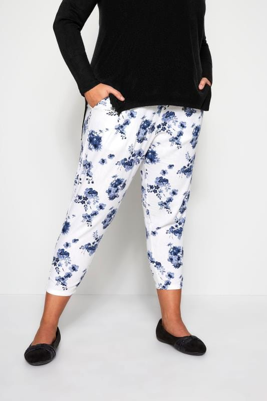 Plus Size Cropped Trousers White Floral Linen Mix Cropped Trousers