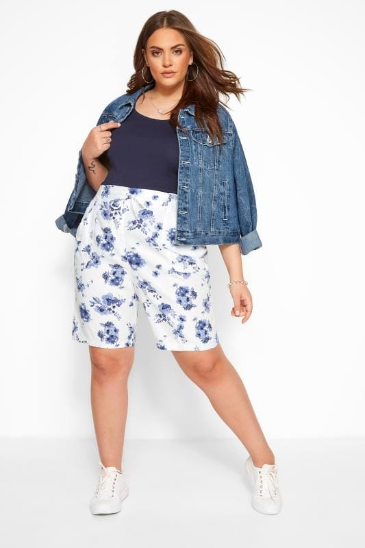 Plus Size Linen Mix Shorts White Floral Linen Mix Shorts
