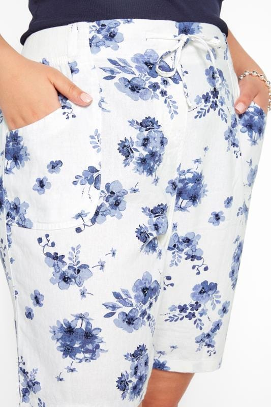 White Floral Linen Mix Shorts