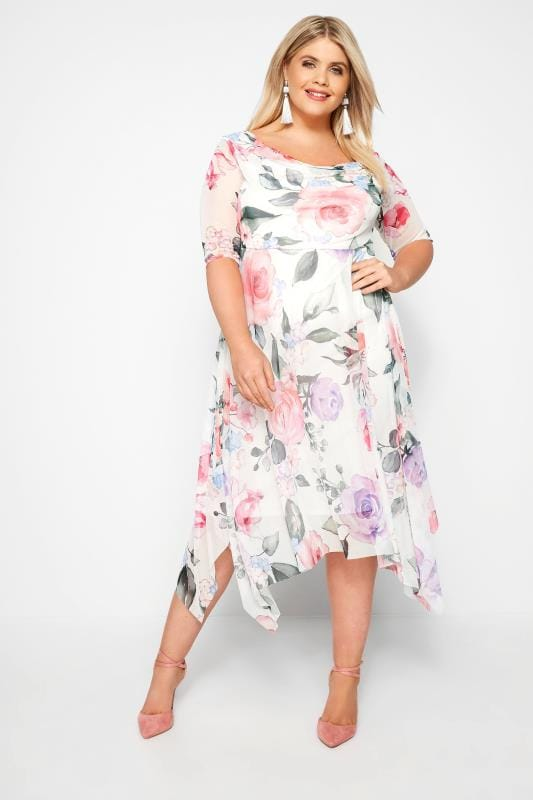 YOURS LONDON Mesh Midi-Kleid - Weiß mit Blumen