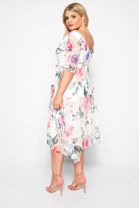 White Floral Mesh Midi Dress