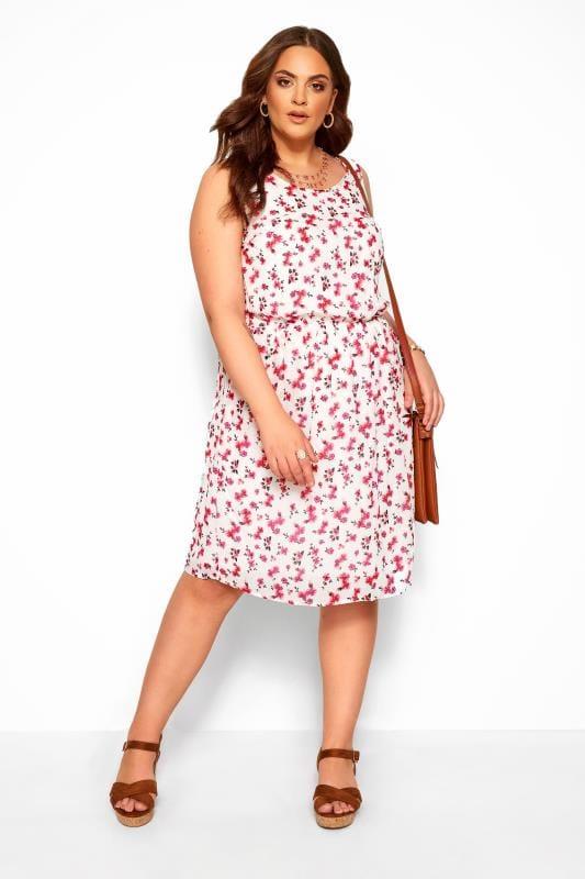 Plus Size Floral Dresses White Floral Pocket Skater Dress