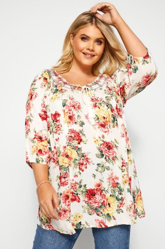 Plus Size Gypsy Tops White Floral Shirred Gypsy Top